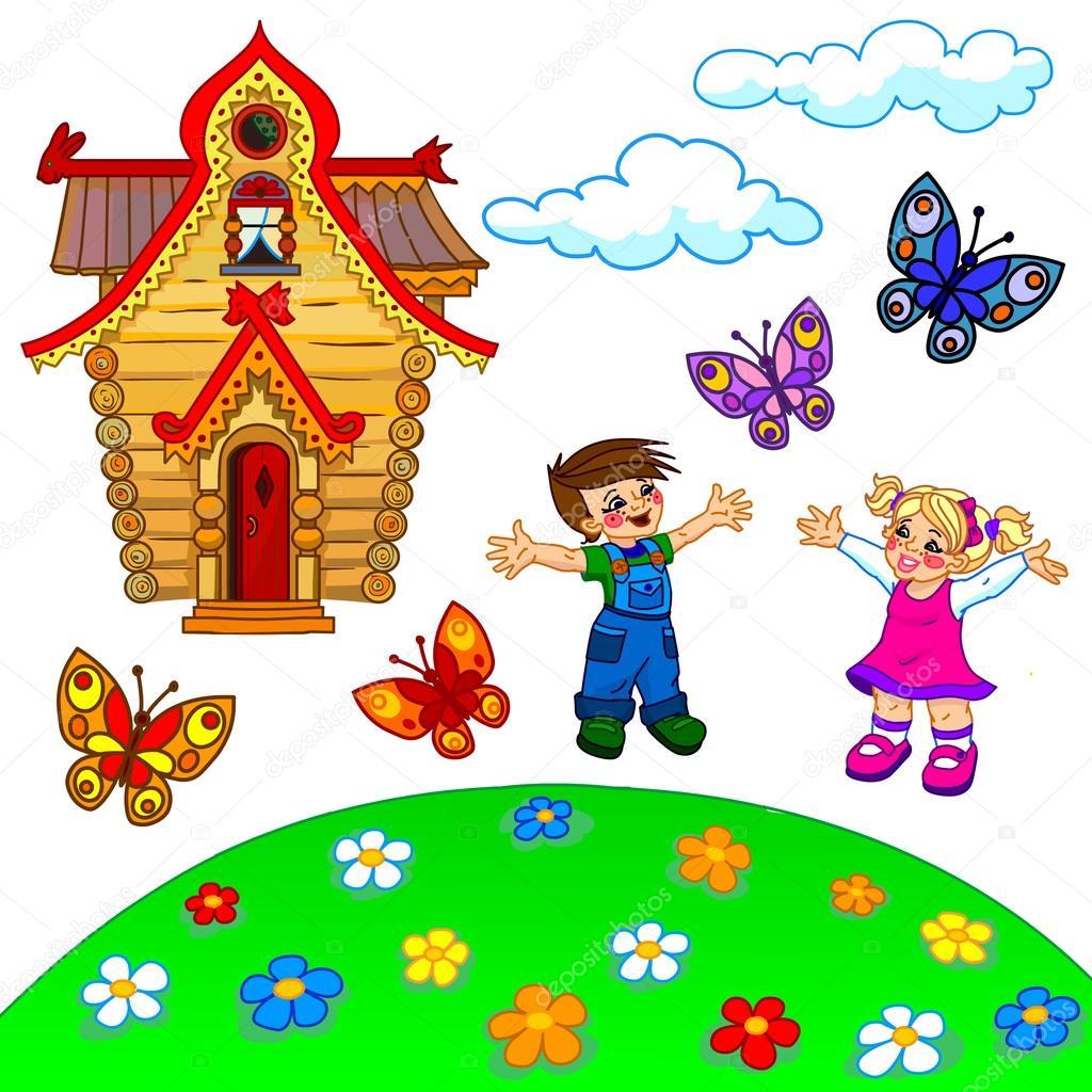 Illustrazione di cartone animato prato bambini casa