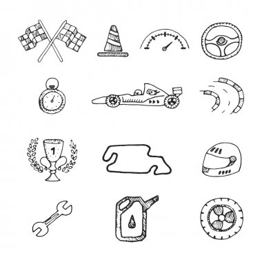 Vector racing icons in a drawing style