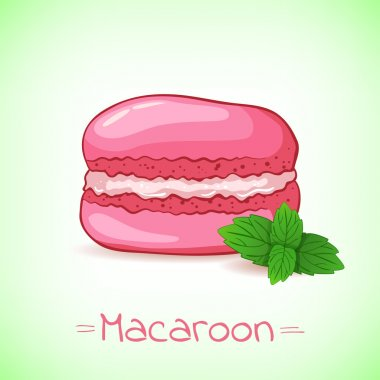 Beautiful illustration of a French dessert macaroon and mint