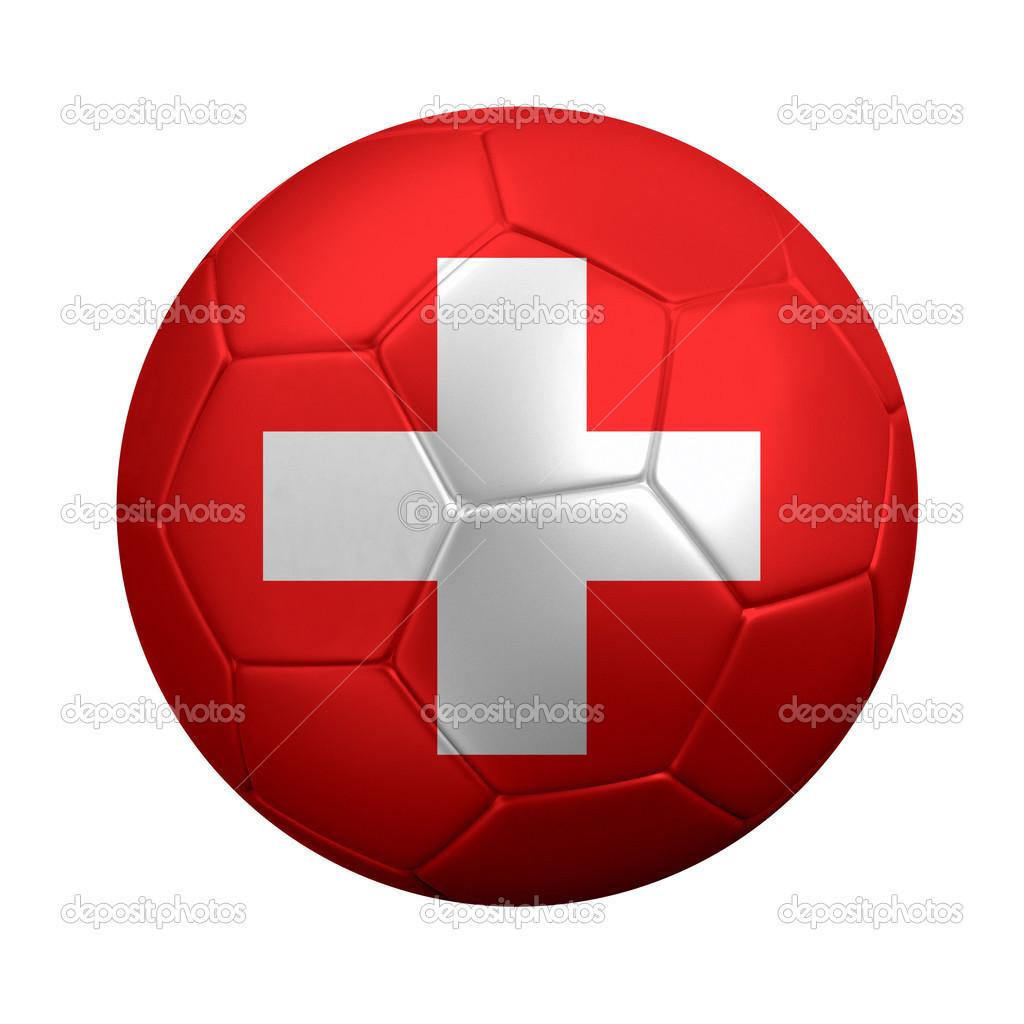 f2747690636b5 bola de futebol envolto na bandeira Suíça — Stock Photo © ronniechua ...