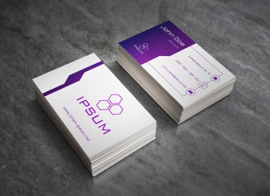 Business card template - purple-blue gradient  with square pattern