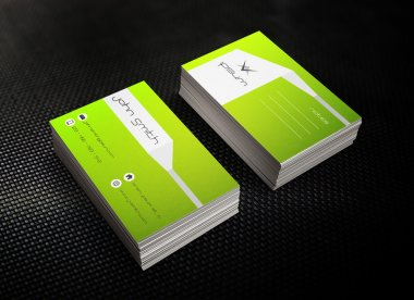 Bright green business or visit card template