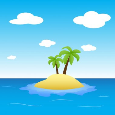 Illustration of island in the middle of ocean with two palm trees