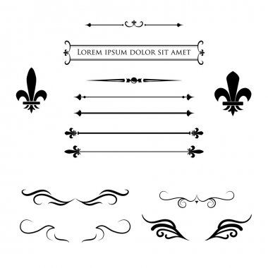 Collection of calligraphic flourish design elements, borders and frames - fleur de lis