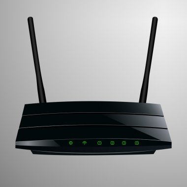 Realistic illustration of a black router in a sleek modern design