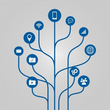 Abstract icon tree illustration - phone, communication and technology concept