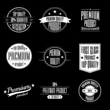 Set of vintage style labels - premium quality product and guaranteed satisfaction signs