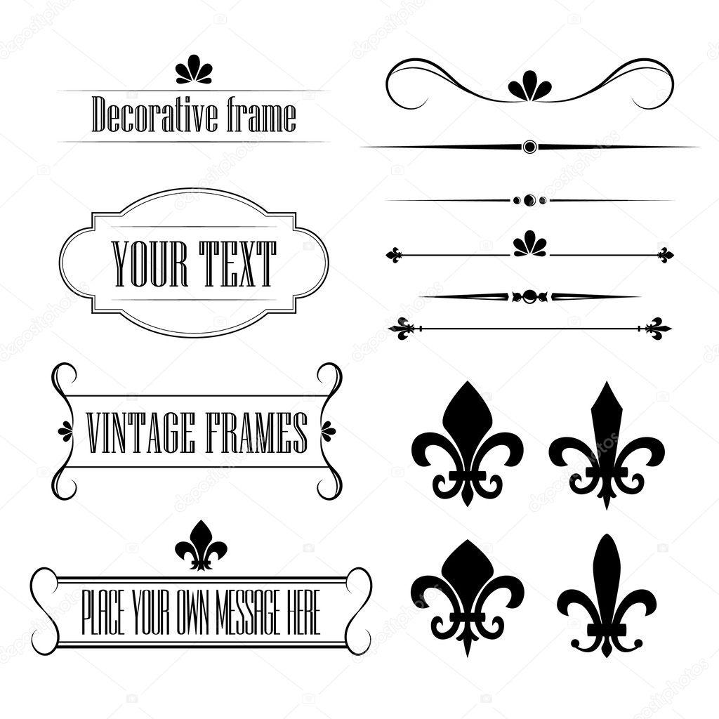 Set Kalligrafische Bloeien Ontwerpelementen Randen En Frames