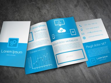 Business brochure template in modern blue and white design with a lot of icons and a line chart