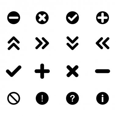Collection of arrows and various signs - black flat icons clip art vector