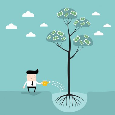Businessman watering money tree Business success concept