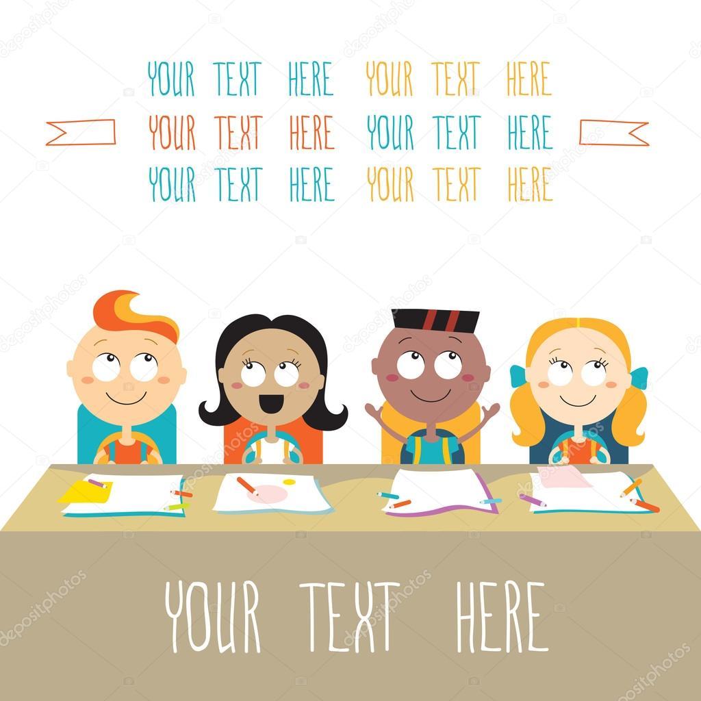 niños felices en la lección a tema escolar — Vector de stock ...