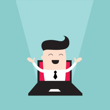 Businessman jumping out of laptop monitor