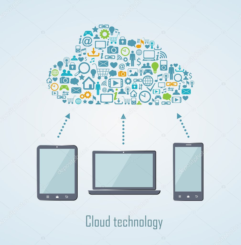 Cloud technology illustration with laptop phone and tablet