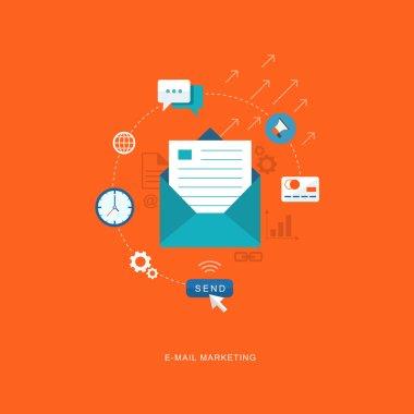 Flat design illustration with icons. E-mai marketing
