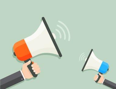 Two megaphones flat illustration
