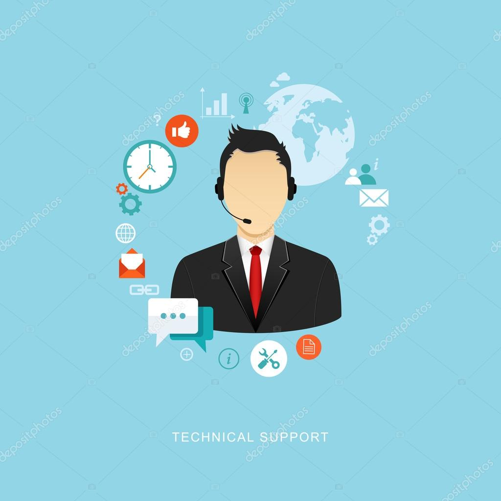Flat design illustration with icons. Technical support assistant