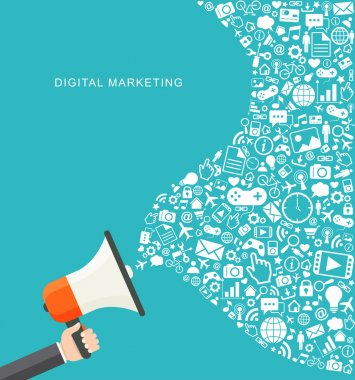 Digital marketing flat illustration. Hand holding megaphone