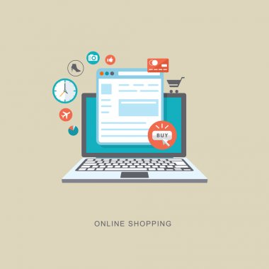 Online shopping flat illiustration