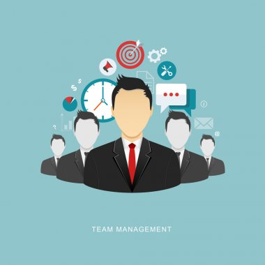 Team management flat illustration