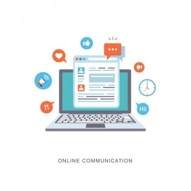 Online communication flat illustration with icons