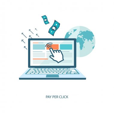 Pay per click flat illustration