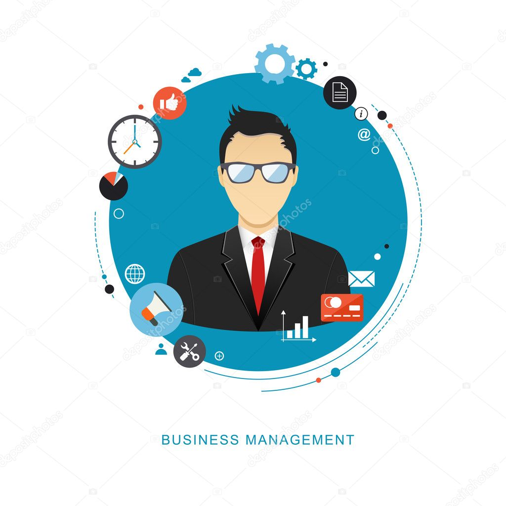 Business management concept flat illustration. Office man with i