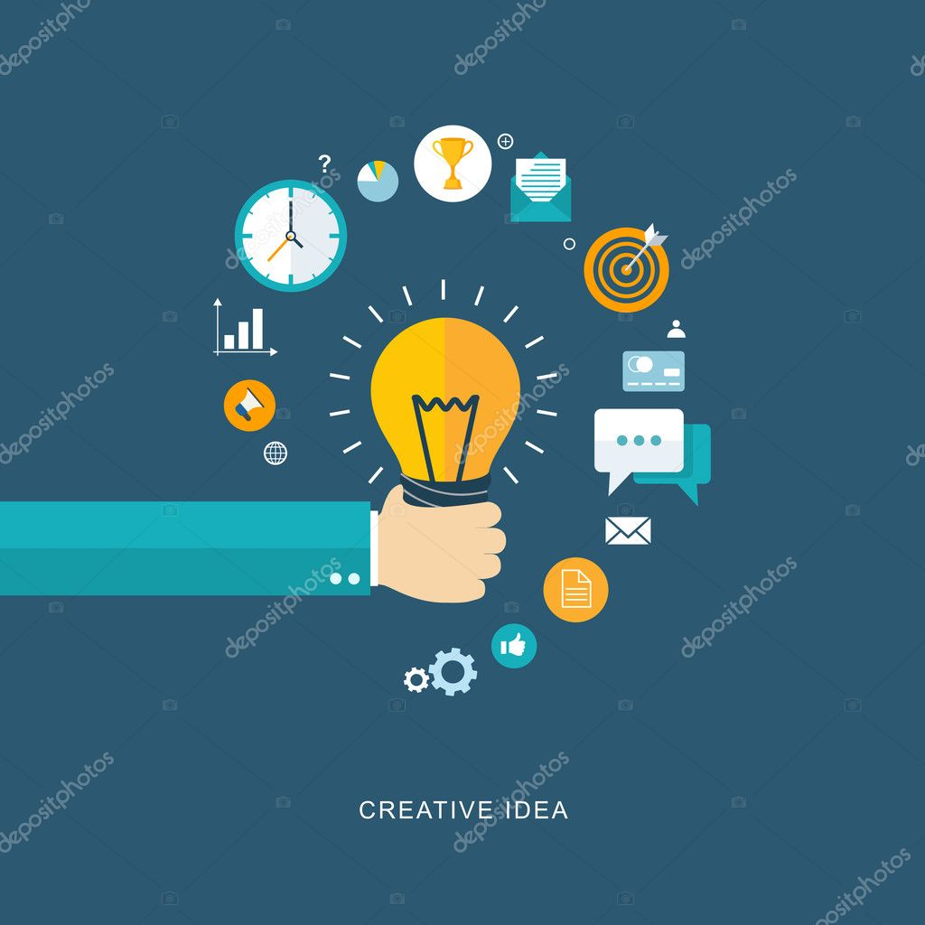Creative idea flat illustration with hand holding bulb and icons