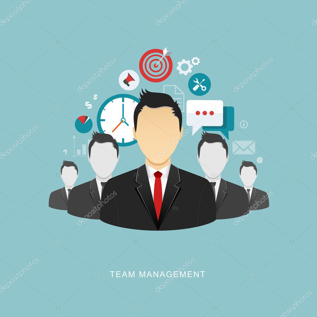 Team management flat illustration
