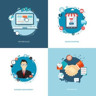 Flat internet banners set. Team management, online shopping, par