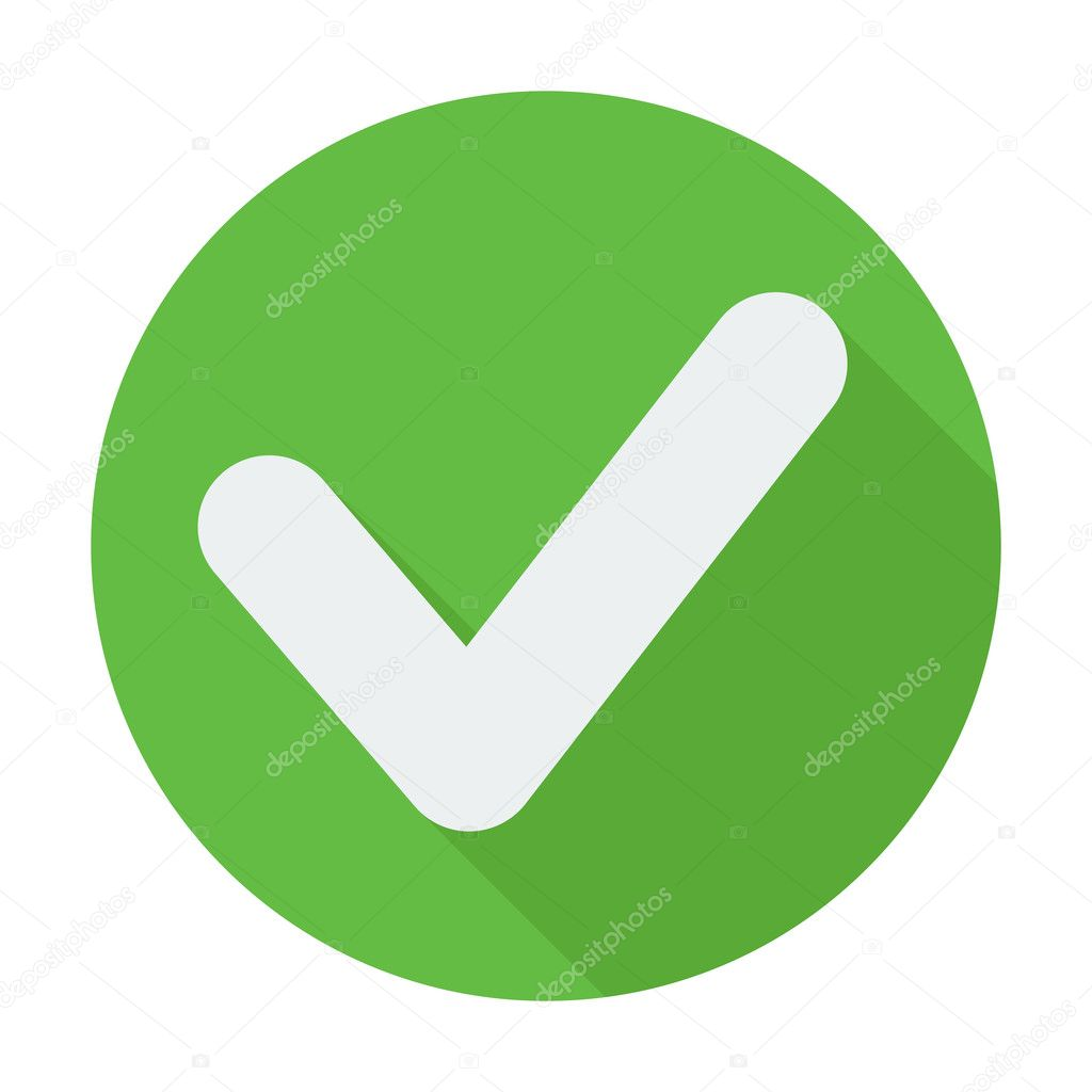Single flat check mark icon with long shadow.