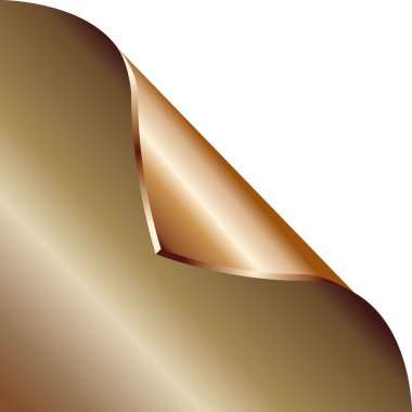 Folded edge of the sheet. Vector. Bronze.