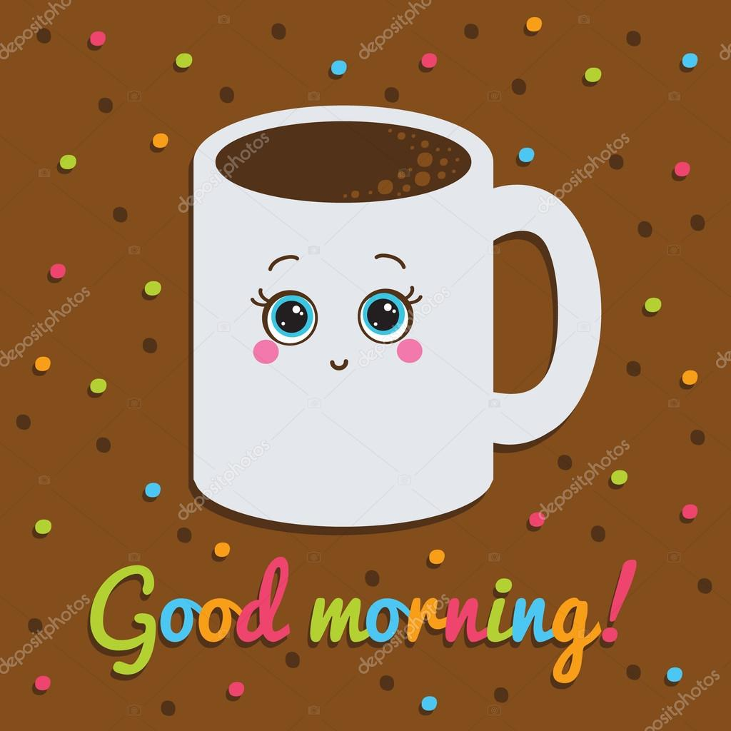 Guten Morgen Inschrift Karte Lächeln Mit Einer Tasse