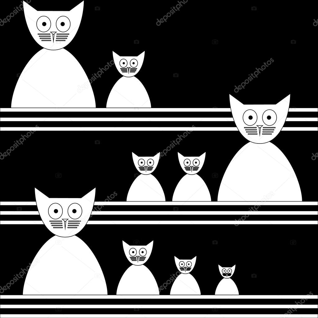 Cats Abstract seamless vector background Template for design