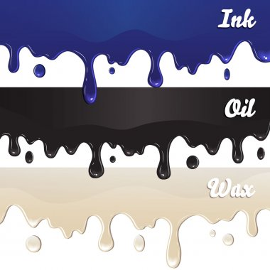 Ink, oil, wax drips on white background