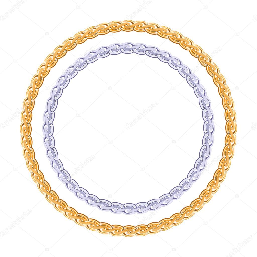 Pensé que la cadena de oro y plata - redondo marco — Vector de stock ...