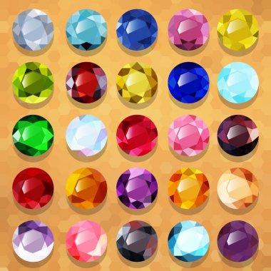 Set of multicolored precious stones round