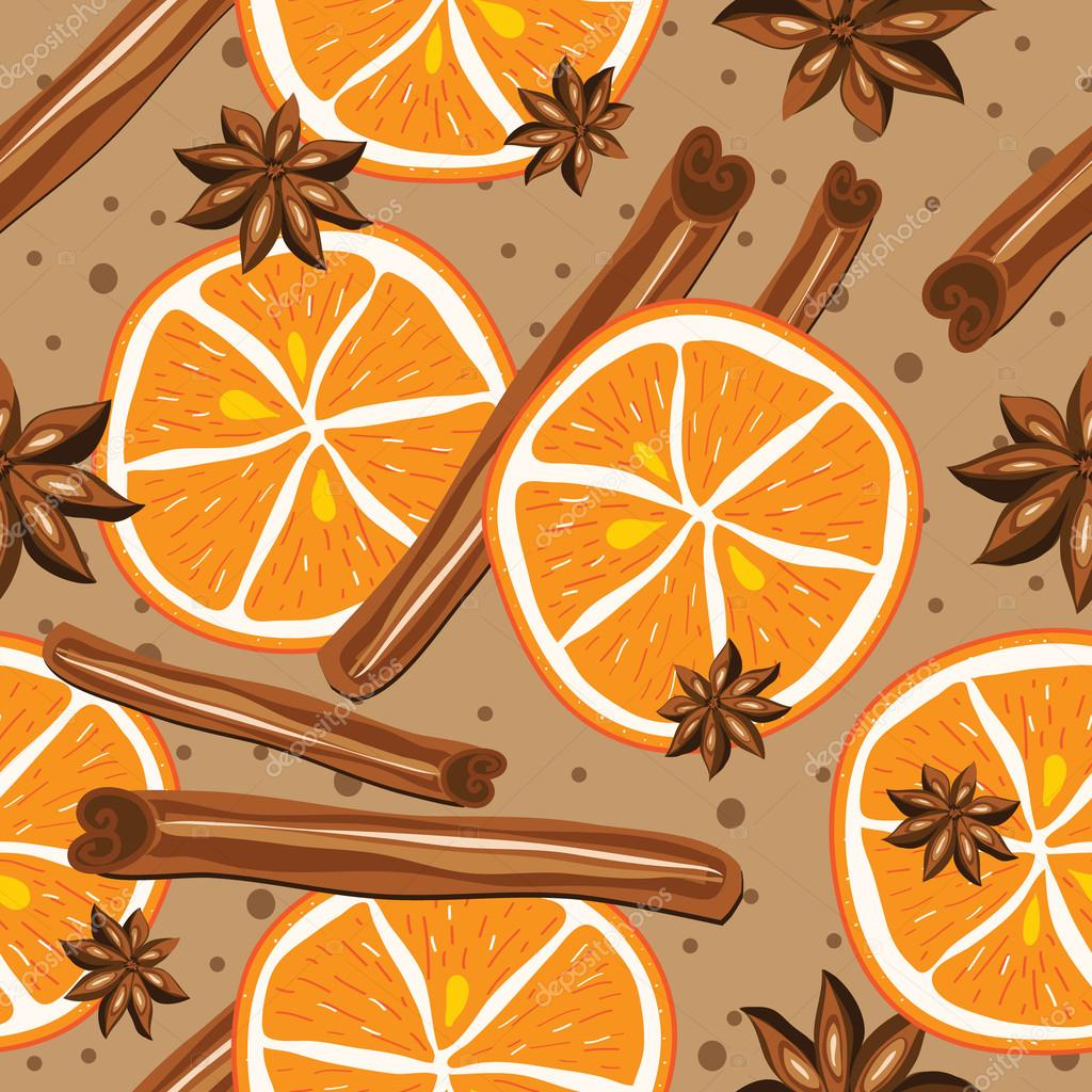 Cinnamon and oranges, vector, kitchen background. Abstract seamless background