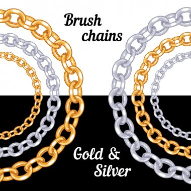 Set of chains metal brushes - gold and silver.