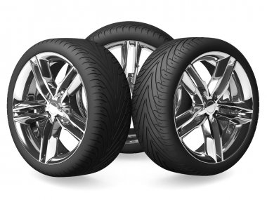 Car wheels isolated on white.