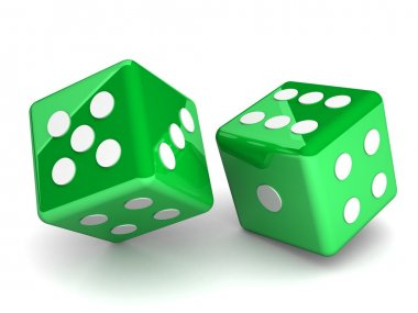 3d green dice isolated