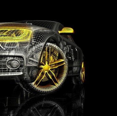 Car 3d model on a black background.