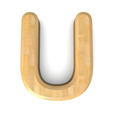 3d wooden letter U .