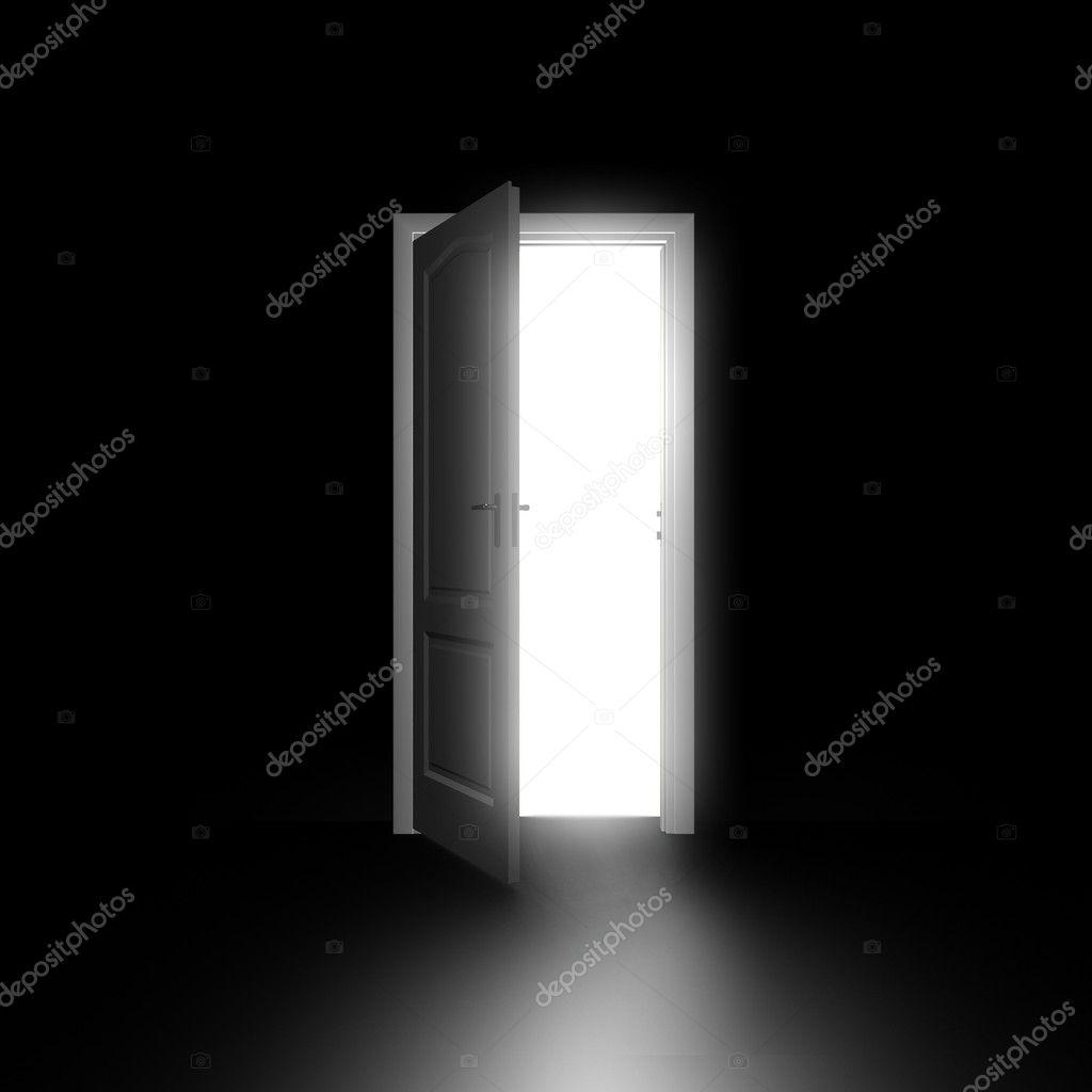 Door opening in black room — Stock Photo © Best3d #51229947