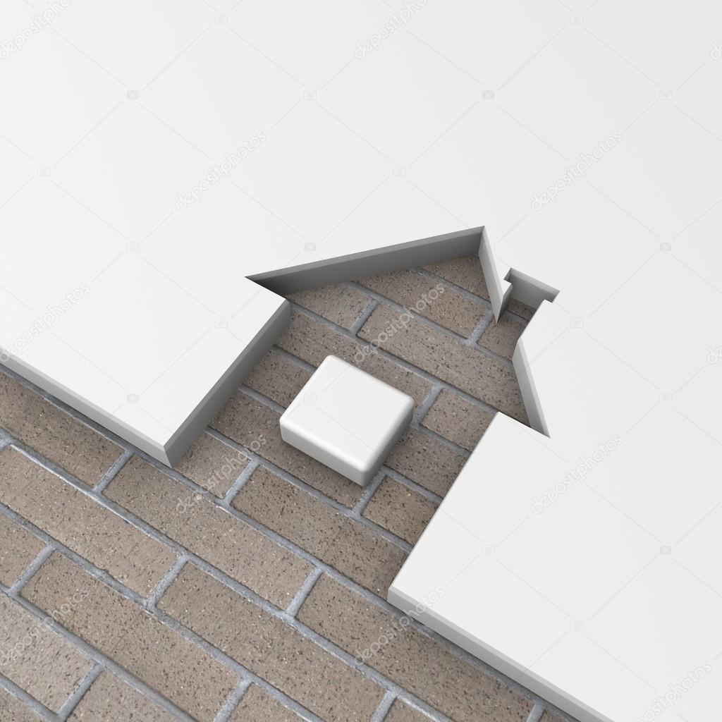 3D Haus Form Ziegel Metapher — Stockfoto © Best3d #51230205