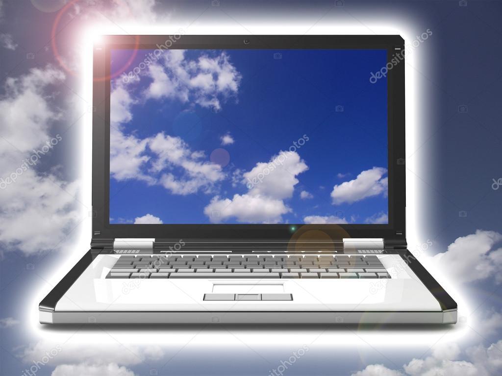 depositphotos 51276065 stock photo 3d laptop notebook with sky