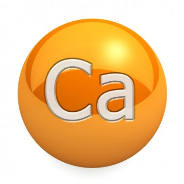 3D chemical element calcium. Button, icon. On a white background stock vector
