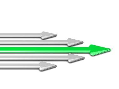 3d arrow with green arrow leader