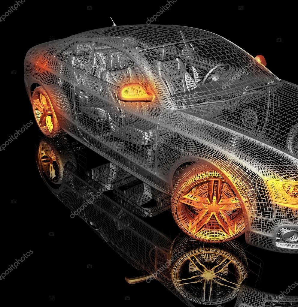 3D Auto-Modell auf einem schwarzen Hintergrund — Stockfoto © Best3d ...