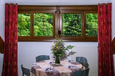 Laminated PVC windows in villagr house